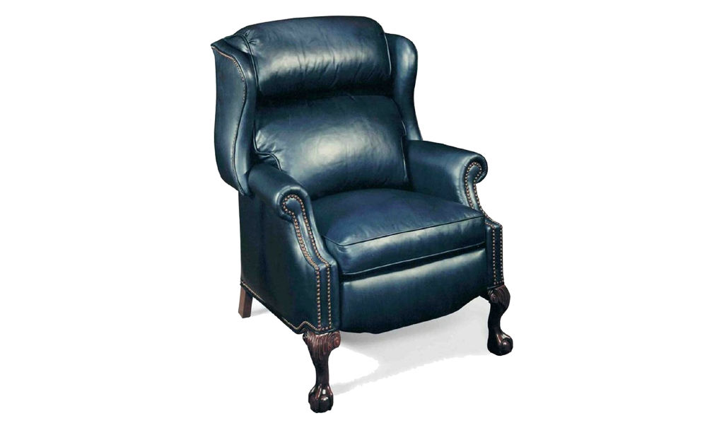 Bradington Young Ball and Claw Reclining Wing Chair - Leather Furniture in Hampton Falls NH